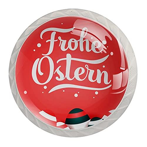 Boutons De Tiroir Verre Cristal Rond Poignées d'armoires tirer 4 pièces,joyeux oeuf de pâques frohe ostern