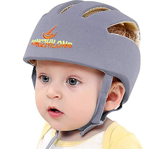 IULONEE Casco de protección para bebé, gorra protectora para cabeza de bebé, gorra de algodón ajustable(Gris)