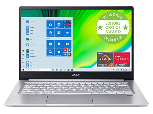 Acer Swift 3 Light Laptop, 14' FHD IPS, AMD Ryzen 7 4700U Octa-Core Processor with Radeon Graphics, 8GB LPDDR4, 512GB NVMe SSD, WiFi 6, Backlit Keyboard, Fingerprint Reader, SF314-42-R9YN (Renewed)