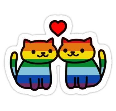 Lancy's Artwork Neko Atsume Gay Pride Merch - 4x4 - Gay Pride Sticker