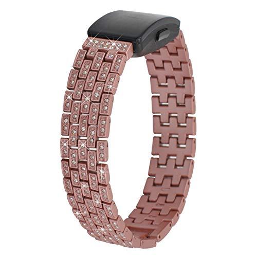 Correa Deportiva Inspire HR, Miya System Ltd Pulsera de Reloj de Acero Inoxidable Bling Rhinestone Pulsera de Repuesto para SFitbit Inspire/Inspire HR/Ace 2 (Oro Rosa)