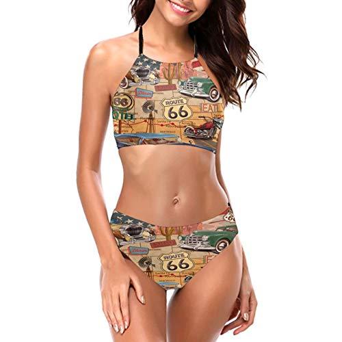 Vintage Car Route 66 Mujeres Niñas Bikini Sets Sexy Acolchado Triángulo Bikini Push Up V Cuello Top Dos Piezas Traje De Baño Playa desgaste Parte inferior Bra Set