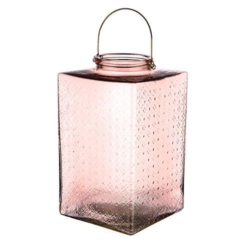 Neutro gravé Lanterne carrée en verre Rose Taille 20 cm x 20 cm x 34.30 cm décoratifs Bougie lanternes