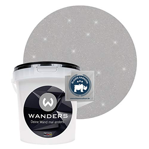 Wanders24® Glimmer-Optik (1 Liter, Silber-Grau) Glitzer Wandfarbe - Wandfarbe Glitzer - abwaschbare Wandfarbe - Glitzerfarbe - Made in Germany
