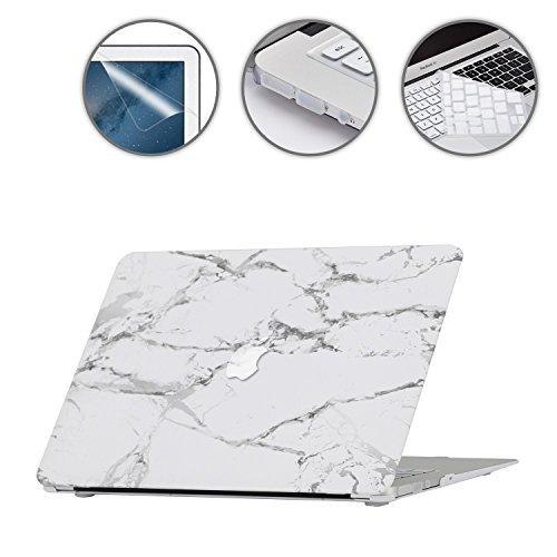 i-Buy Gummierte Harte Schutzhülle Hülle Kompatibel für MacBook Air 13 Zoll (Modell A1369 A1466) 2010-2017 Freisetzung + Silikon Tastaturschutz + Schutzfolie + Anti-Staub-Stecker - Weisser Marmor