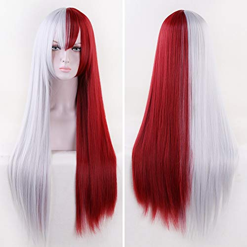 Missvig Red and White Cosplay Wig Long Straight Silver White and Dark Red with Bangs Ombre Synthetic Wig Hair Anime Costume Halloween Party Hair for Movie with Free Cap