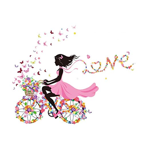 Magic Fairy Bright Flower Heart-Shaped Garland Pink Dress Maid Wall Sticker for Girls' Room Decoration