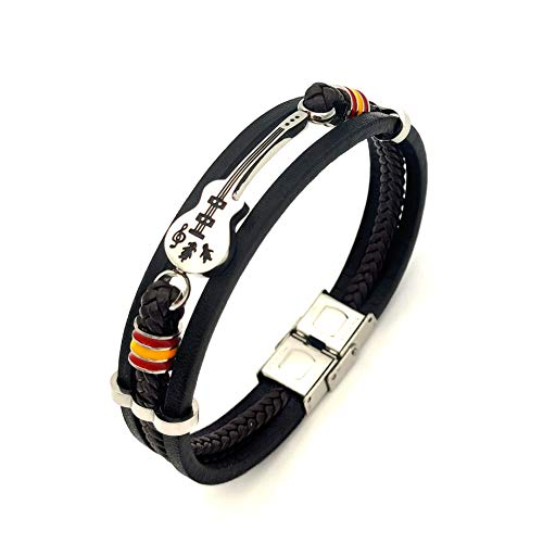 Eymi Mens Leather Cuff Bracelet Handmade Black Multi-layer Cowhide Woven Rope Guitar Bangle, 8.3inch[Adjustable]