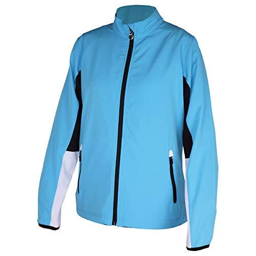 Island Green Insel Grün Frauen Golf Full Zip Water Repellent Mid Layer Top Pullover, Tiefe Pool / Schwarz / Weiß, UK 18