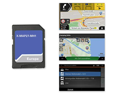 Xzent X-MAP27-MH1: Micro SD-Karte mit Reisemobil Navigation für XZENT Infotainer X-F270, Karten für Europa, Camping P.O.I. Paket, 1 Jahr kostenfreie Kartenupdates