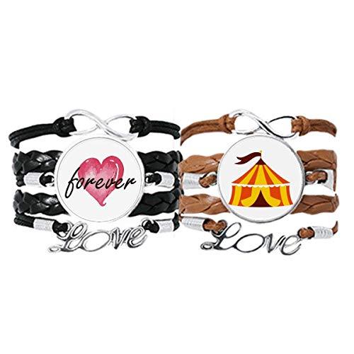 Bestchong Amusement Park Lot de 2 bracelets avec sangle en cuir et corde Motif tente de jardin
