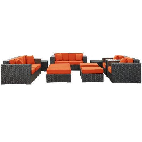 Big Sale LexMod Eclipse 9-Piece Outdoor Rattan, Espresso with Orange Cushions