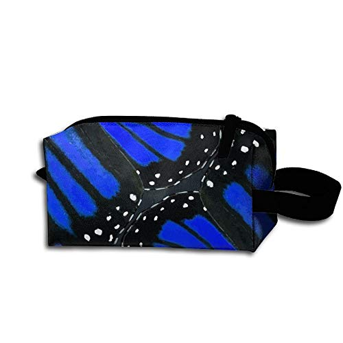 Travel Makeup Blue Butterfly Wings Beautiful Waterproof Cosmetic Bag Quick Makeup Bag Pencil Case
