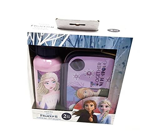 Theonoi Set van 2 kinderen: 1 x broodtrommel sandwichbox magnetrondoos kunststof BPA-vrij en 1 x aluminium fles…
