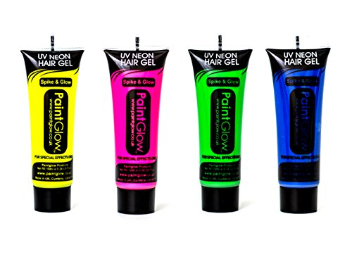 Paint Glow UV Neon Hair Gel Party Festival Rave Set 4 Pink Yellow Green Blue