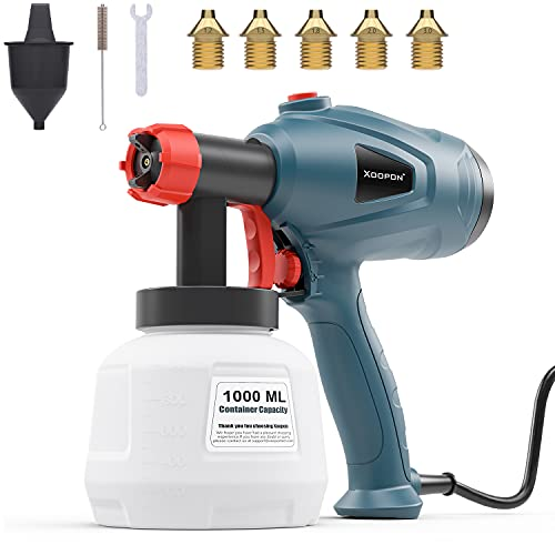 Xoopon Paint Sprayer, High Power HVLP Spray Gun with 5 Additional Copper Nozzles and 3 Spray Patterns, Easy to Clean and Control the Flow, Ideal for Furniture, Wall, Fence-Green