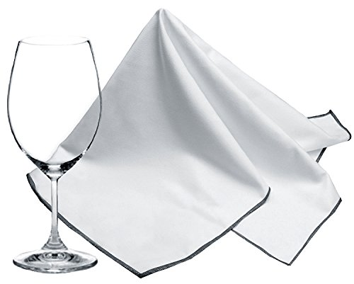 SINLAND Microfiber Glass Polishing Cloths Thick Lint -Free Drying Towels for Wine Glasses Stemware Dishes Stainless Appliances 20 Inch X 25 Inch Pack of 2 Grey