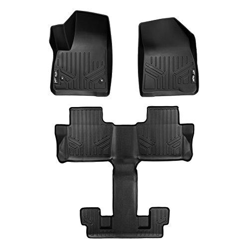 SMARTLINER Custom Fit Floor Mats 3 Row Liner Set Black for 2017-2019 GMC Acadia with 2nd Row Bucket Seats
