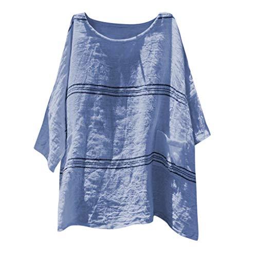Amphia - Damen Leinenblusen,Frauenmode Lose Baumwolle Leinen Streifen Plus Size TäGlich Casual Hemd Bluse Tops