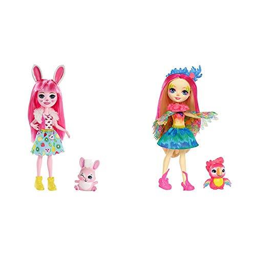 Enchantimals Bree Bunny y Twist, muñeca con Mascota (Matty FXM73) + Muñeca Peeki Parrot - muñeca, Edad recomandada 4 - 10 años (Mattel FJJ21)