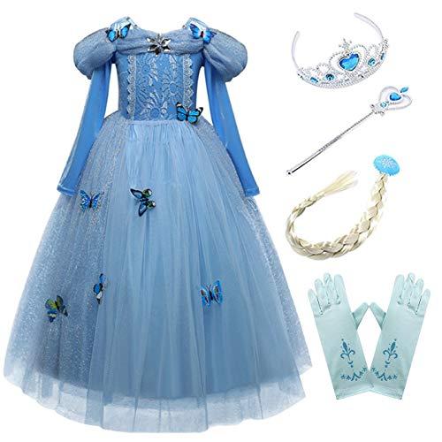 Kosplay Mädchen Cinderella Prinzessin Kostüm Kinder Märchen Aschenputtel Karneval Fasching Tüll Halloween Weihnachten Geburtstagsfeier Cospaly Ballkleid Lang Festkleid