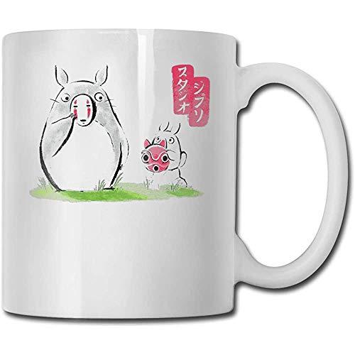 Nieuwigheid Witte Thee Mok, Grappige Keramische Koffie Mokken, Water Sap Beker, Mijn Buurman Totoro Ghibli Maskers Unieke Verjaardag Cadeau, voor Verjaardag, Porselein Beker, 11 Oz