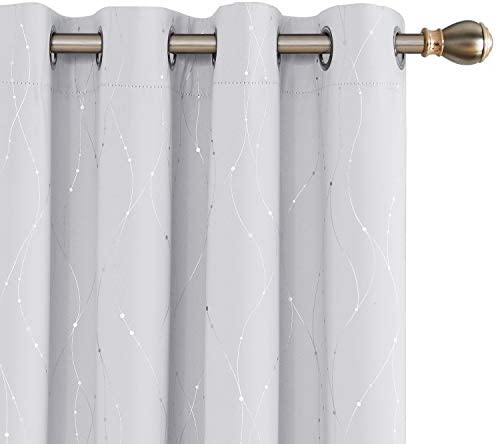 Deconovo Blackout Curtains Wave Line with Dots Foil Print Design Curtains Window Curtains with product image