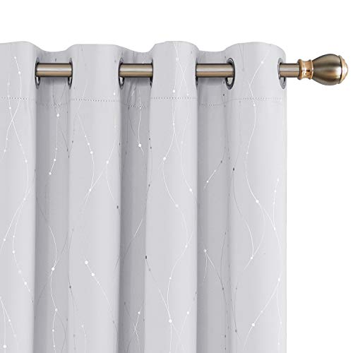 Deconovo White Blackout Curtain Panels for Bedroom and Living Room, 84 Inch Long Drapes - Thermal Insulated Window Curtains with Floral Pattern (52 x 84 Inch, Greyish White, 2 Panels)