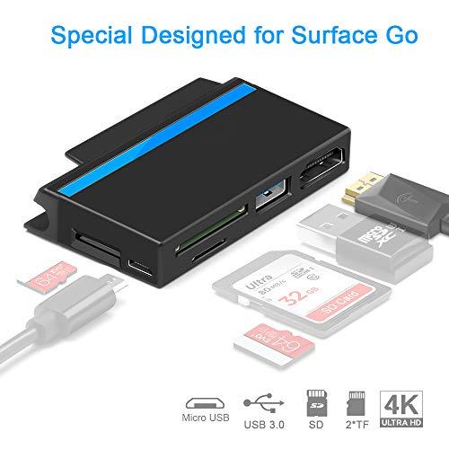 Surkit USB C Hub für Surface Go, 4K 1080p HDMI, USB 3.0, SD/TF Kartenleser, Push-Slot für USB Stick, Micro USB DC für externes Gerät Reisefre&lich, Oberfläche Go-Kantenform eng anliegend
