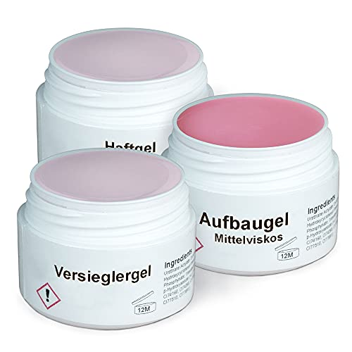 GS-Nails UV Gel-Set - 3x 15ml Nagel-Gel für Nail-Art & Nagel-Design - Haft-Gel, mittelviskoses Aufbau-Gel Pink Milchig, Versiegelungs-Gel - 45ml