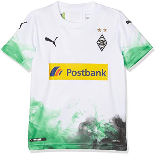 PUMA Kinder BMG Home Replica mit sponsor Trikot, White/Bright Green, 152