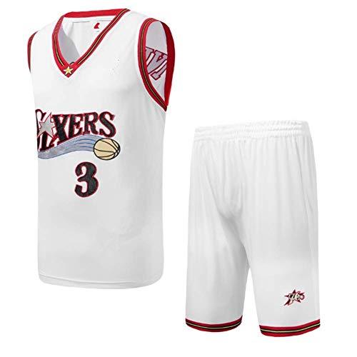 CAMILYIN Camisetas de Baloncesto Retro para Hombre NBA Heat # 3 Uniforme de Baloncesto Camiseta de Chaleco Clásico de Tela Transpirable Fresca,Blanco,XXXL
