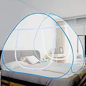 crib bedding and baby bedding vangold mosquito net bed canopy pop up foldable double door with bottom for bed camping travel home (79 x71x59 inch)
