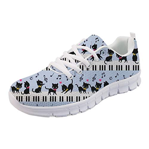 Coloranimal Gym Sports Athletic Laufen Walking Sneakers Kawaii Animal Cat mit Piano-Muster rutschfeste Jogging-Wohnungen Casual Lace Up DailyShoes EU Größe 39