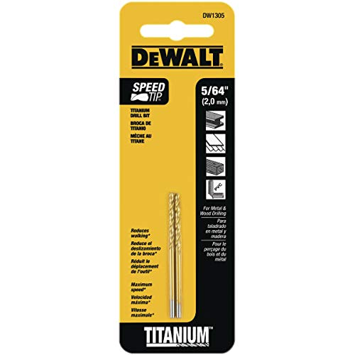 DEWALT DW1305 5/64-Inch Titanium Split Point Twist Drill Bit,Gold