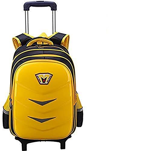 Viktion 2 in 1 Kinder Schultrolley Trolley Rucksack Schulranzen mit Rollen Schultasche für Mädchen Junge 2 Klasse bis 6 Klasse als Schulrucksack Daypacks mit Reflexstreifen (Gelb, mit 2 Rollen)