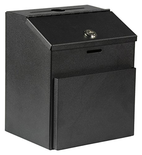 Suggestion Box with Lock for Wall Mount or Tabletop Use, Locking Hinged Lid, Metal Ballot Box with Pocket for Donation Forms or Envelopes (Not Included), Black