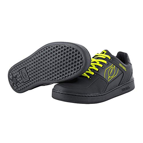 O'Neal | Bike-Shoe | Mountain Bike MTB DH FR Downhill Freeride | Balance Between Grip and Foot Positioning, Honeycomb Sole | Pinned Flat Pedal Shoe | Adult | Black Neon-Yellow | Size 42