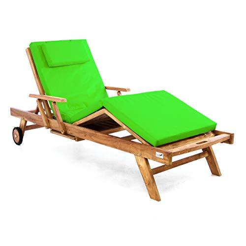 Divero Sonnenliege Holzliege Gartenliege Teak-Holz behandelt mehrfach verstellbar inkl. Räder Tablett + Liegen-Auflage 4-teilig wasserabweisend hellgrün