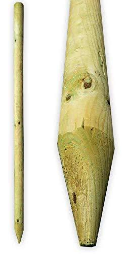 Gartenpirat Zaunpfahl Ø 6 cm Länge 200 cm runde Holzpfosten angespitzt 200 cm