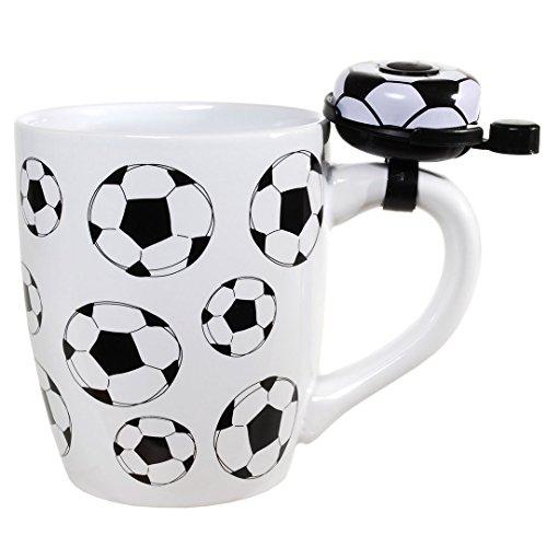 Preis am Stiel Becher ''Fußball'' mit Klingel | Fanartikel | Weltmeisterschaft | Fan Zubehör | Public Viewing | Fußball WM | Geschenkidee Männer | Fußball Becher | Tasse mit Klingel | Kaffeetasse