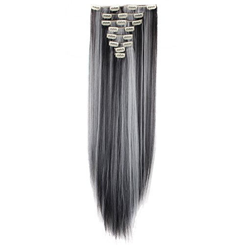 LHFLIVE Womens 18 Clips 8pcs Full Head Hair Extensions 26 Inch Long...