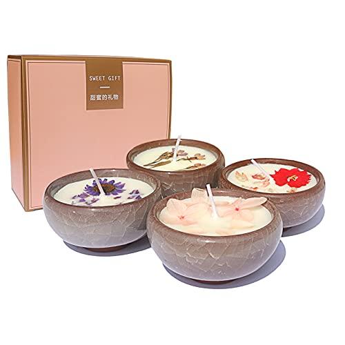 Juego de velas perfumadas para mujer, 4 paquetes de 2,8 oz, cera de soja natural, aromaterapia con pétalos reales