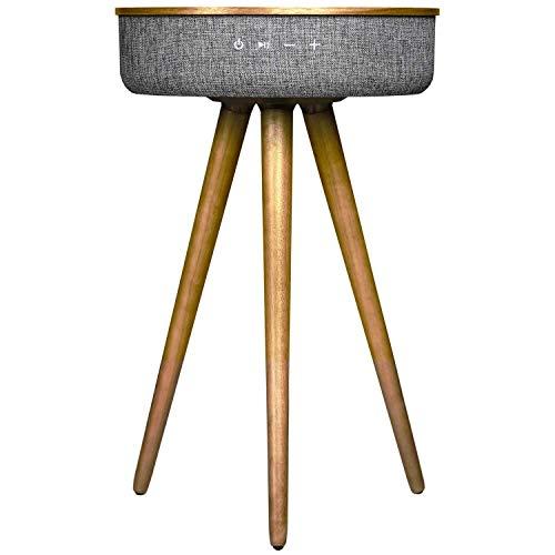 Heomeyb Studio Smart Table mit integriertem 360 ° Bluetooth-Lautsprecher und drahtlosem Qi-Ladegerät. Nachtgrauer Holzrahmen. Moderner praktischer Couchtisch und Nachttisch. Schlafzimmer, Wohnzimmer