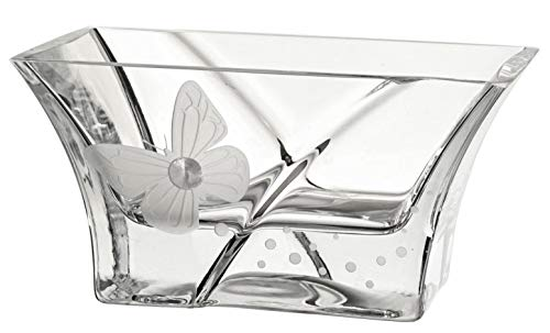 Anna's Exclusive Decor - Ciotola in vetro soffiato a mano, decorata con cristalli Swarovski + farfalla, in vetro senza piombo, piccolo centrotavola, diametro 18 cm