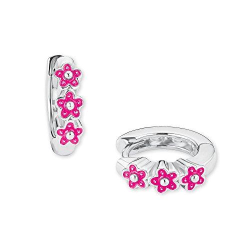 Prinzessin Lillifee Mädchen-Creolen Blumen 925 Sterling-Silber emailliert