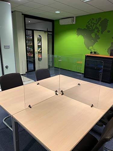 Jalema Es 7999842 - Set de 4 Mamparas, Separadores modulares de escritorio transparente con soportes de sujeción   690 x 650 mm   contra microbios bacterias ✅