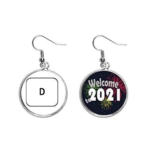 Símbolo de teclado D Art Deco regalo moda pendientes pendientes joyería 2021 bendición