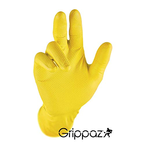 Grippaz Work-Inn Nitril-Handschuhe Gelb 30cm (50 Stück)   Größe S   latexfreie Arbeitshandschuhe extrem robust & rutschfest   ohne Puder patentierte Schuppenprägung   Einweghandschuhe + hygienisch