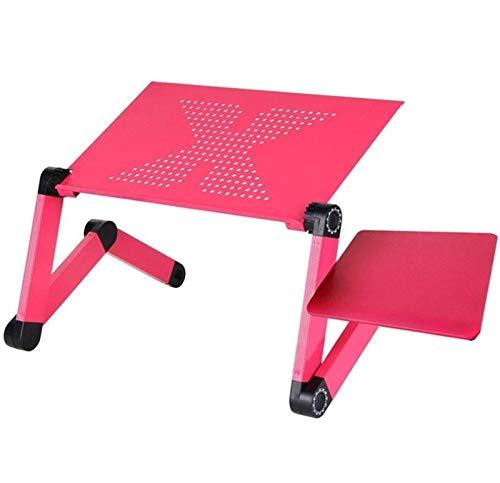 Wjmss Mesa de Escritorio para computadora portátil, Cama de TV ergonómica Lapdesk Bandeja de Aluminio Ajustable computadora portátil de Alto Soporte de Malla de enfriamiento,Rosado